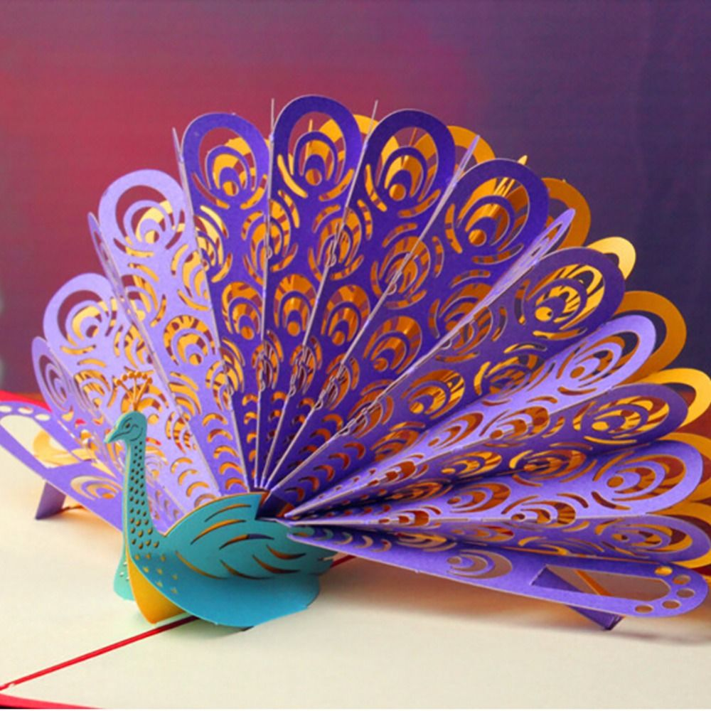 D beautiful peacock greeting cards handmade paper personalized