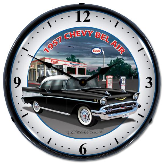 Chevrolet 1957 Lighted Wall Clock Chevy Mall Chevy Bel Air 1957 Chevy Bel Air Wall Clock Light