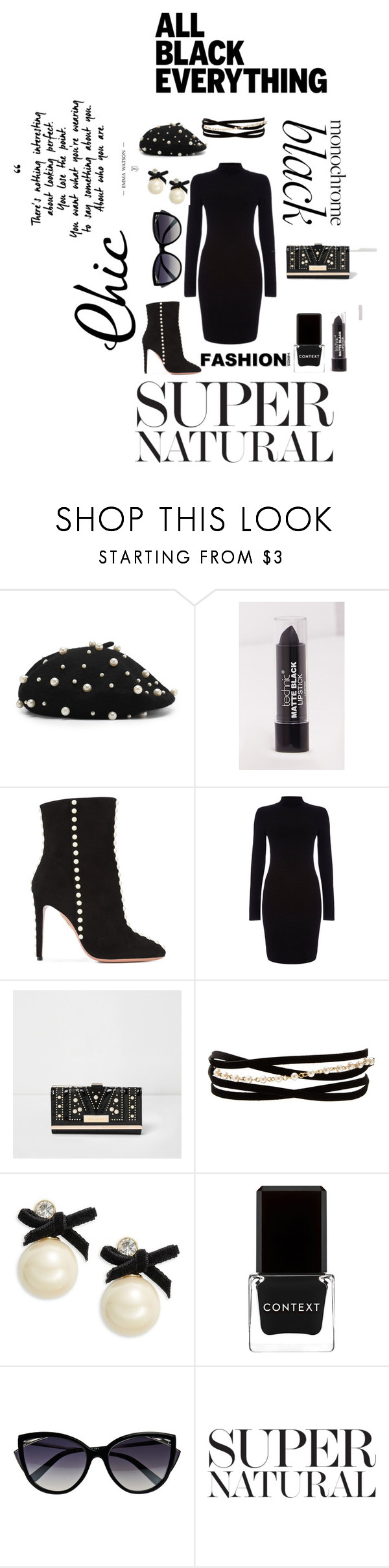 """ALL BLACK EVERYTHING"" by lakisha-34 ❤ liked on Polyvore featuring Aquazzura, River Island, Kenneth Jay Lane, Kate Spade, Context and La Perla"