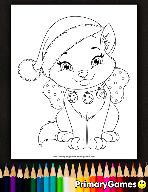 Kitty For Christmas Present Coloring Page Cat Coloring Page Christmas Coloring Pages Kitten Coloring Book