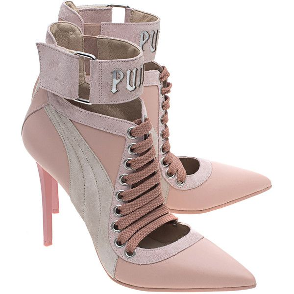 78a899848c9 Fenty x Puma by Rihanna Lace Up Heel Silver Pink    Pointed leather...  ( 475) ❤ liked on Polyvore featuring shoes