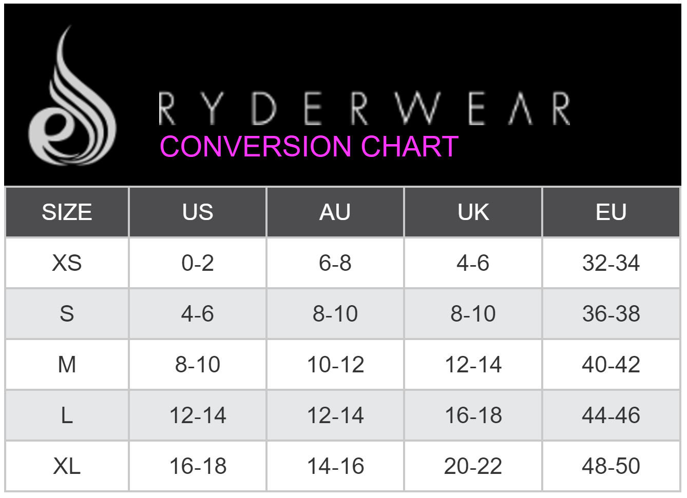 Ladies size chart ryderwear pinterest clothes sizes and clothes ladies size chart nvjuhfo Image collections