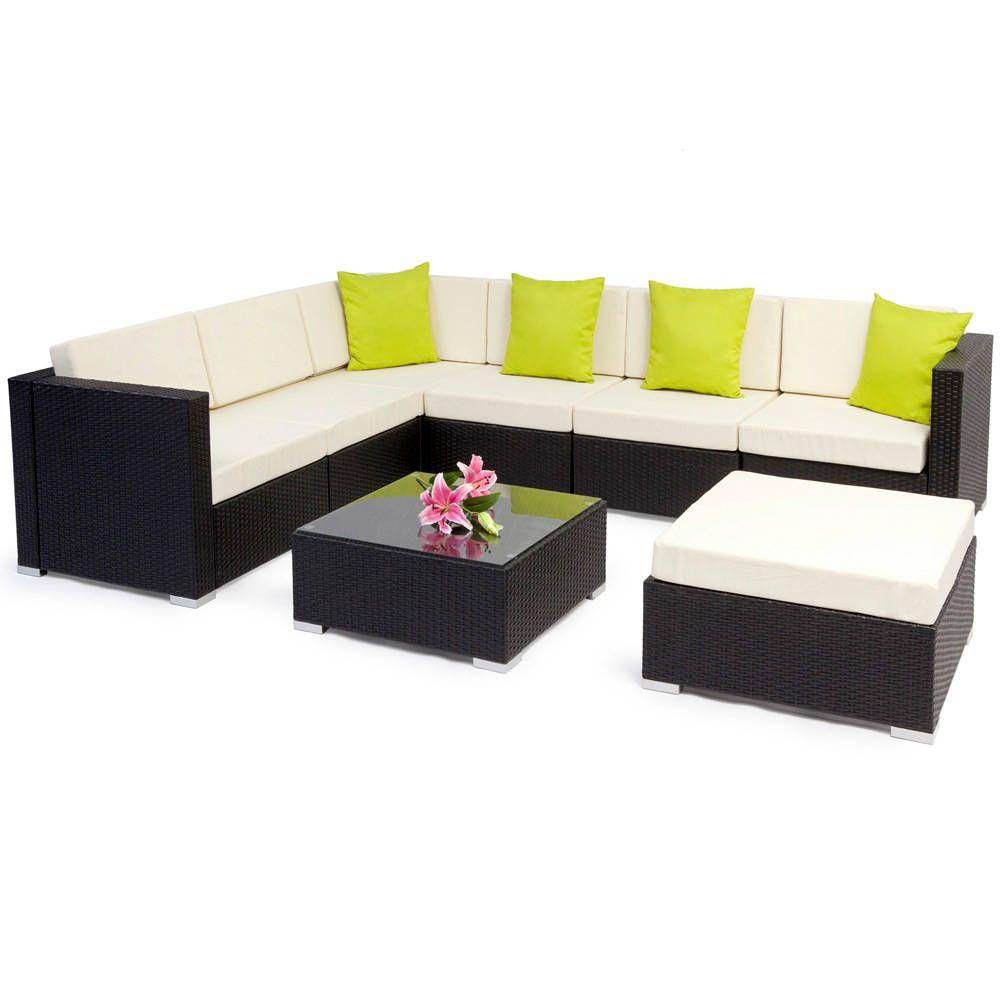Rattan Lounge Mit Aluminiumgestell Marbella Schwarz Braun Rattan Gartenmobel Gartenmobel Sets Mobel Sofa