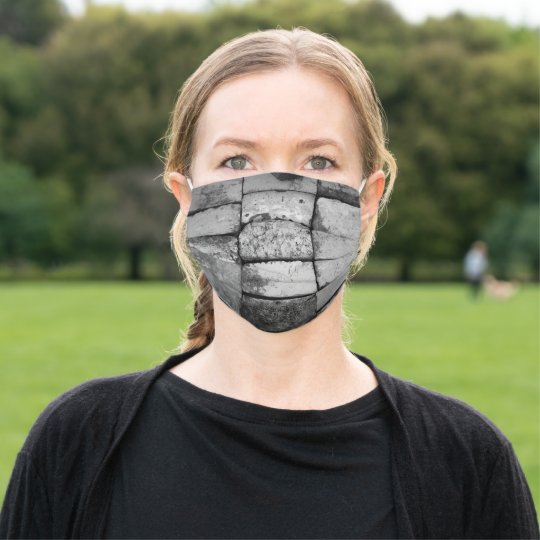 Gray Black Bricks Weathered Monochrome Cloth Face Mask Zazzle Com In 2020 Black Brick Face Mask Weathered