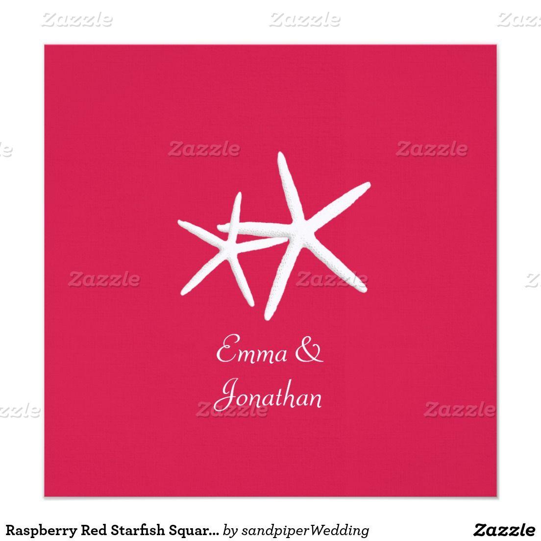 Raspberry Red Starfish Square Wedding Invitation | Raspberry Wedding ...