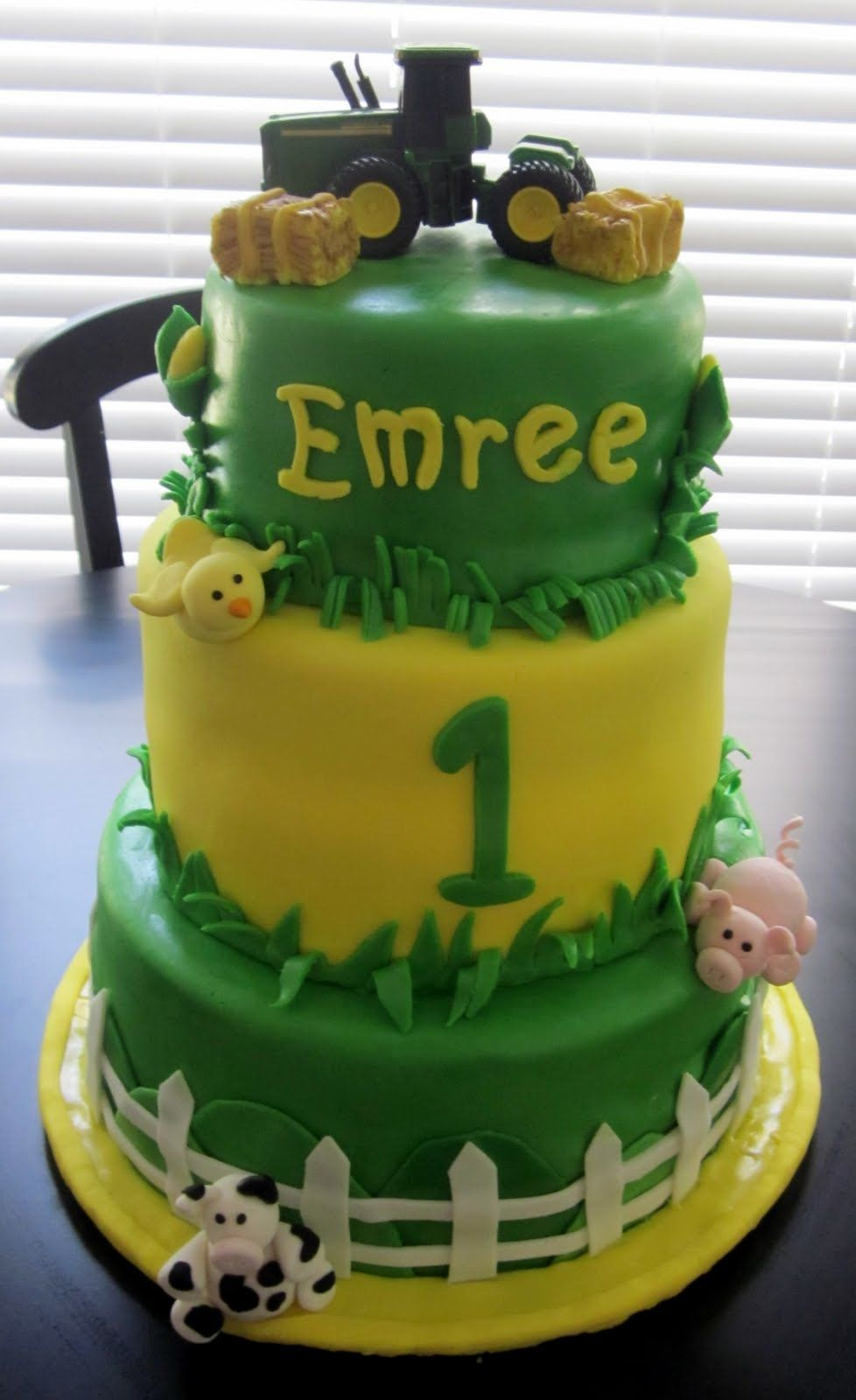 John Deere Birthday Cake with pigs and cows and chicksif i ever