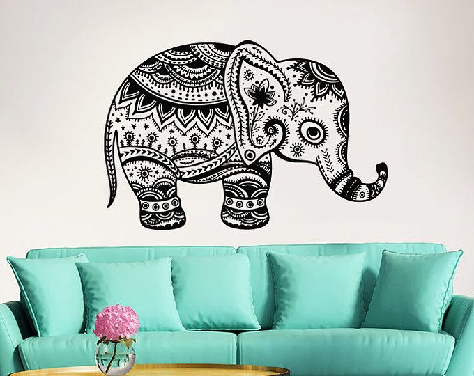 Elephant Wall Decal Indian Boho Bedding Yoga Studio Decor Vinyl Sticker AL4