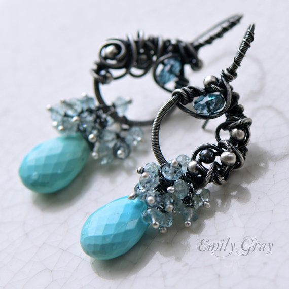 RESERVED oOo The AQUA CASCATA Earrings oOo by Emily Gray