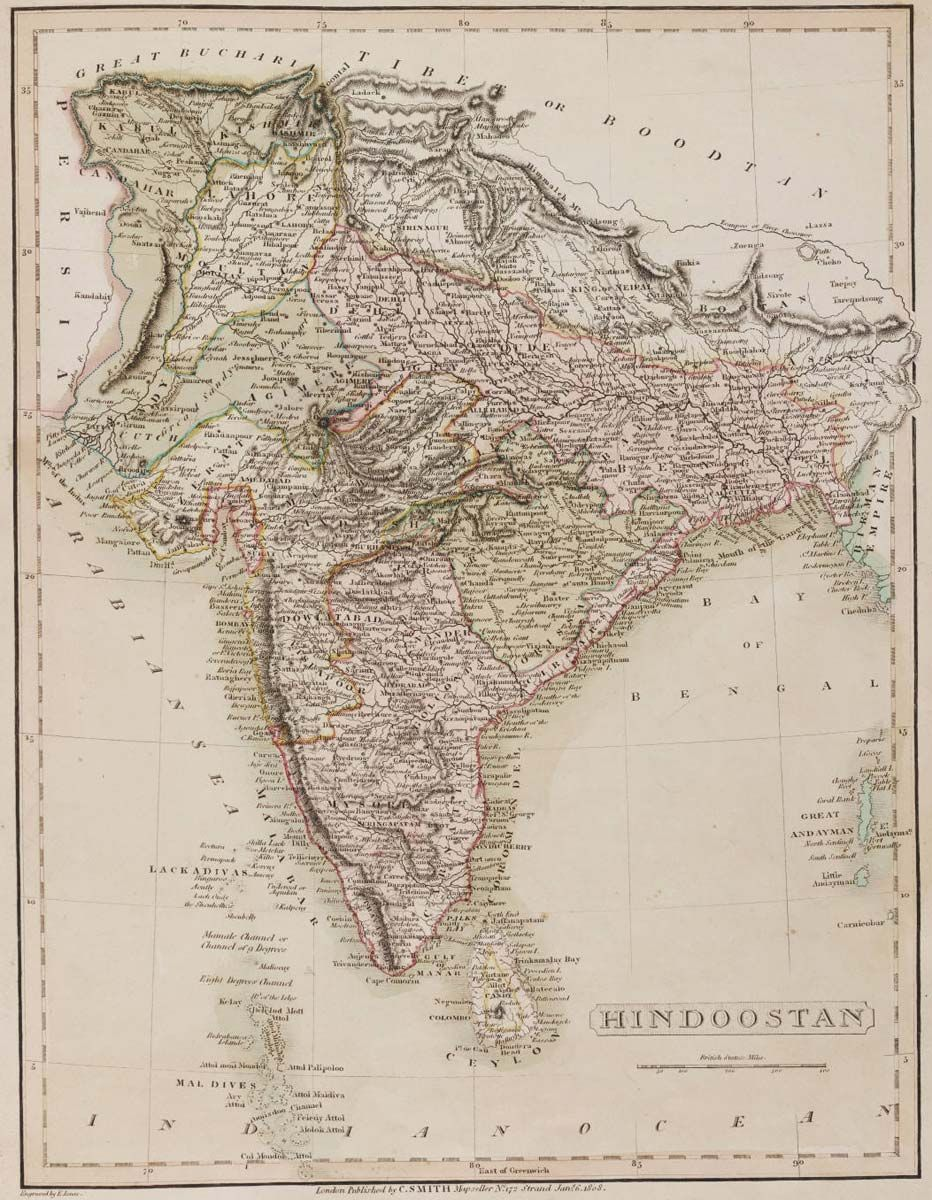 India 1808 hindoostan map india the geography of everything india historical mapfile type jpg file size 205300 bytes kb map dimensions x colors gumiabroncs Gallery