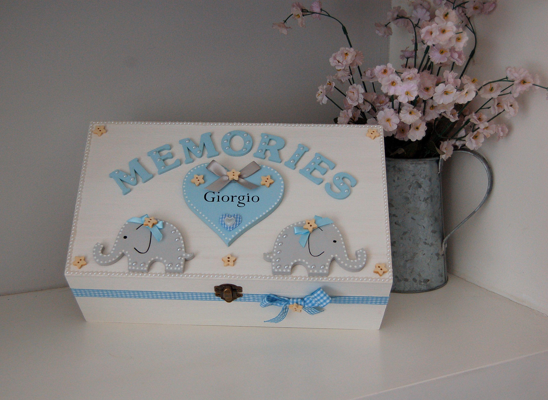 Gift Present Personalised Blue Baby Boys Memory Keepsake Ribbon Box