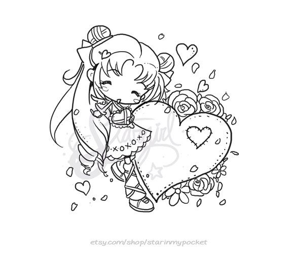 Cute Flowery Heart Valentines anime chibi DIGITAL STAMP by ...