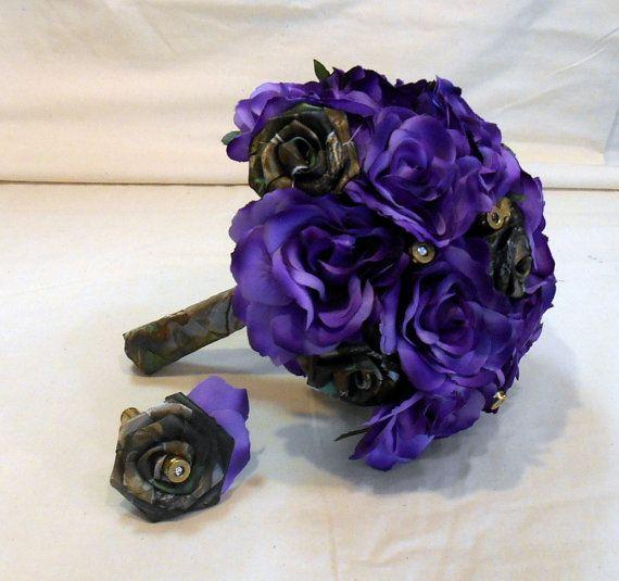 Mossy Oak Camo Purple Silk Flower Bouquet Camo Wedding Flowers
