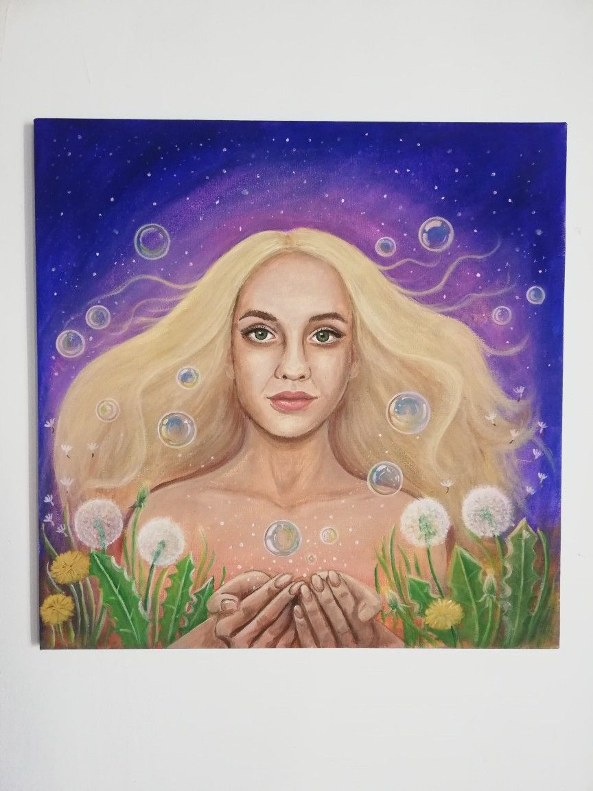 #lovetopaint #magic #love #mydaughter #acrylicpaint #paint #painting #dandelion #soapbubble #bubble #hair #beauty #blond #eyes #canvas #spiritual #canvasart #spiritualpainting