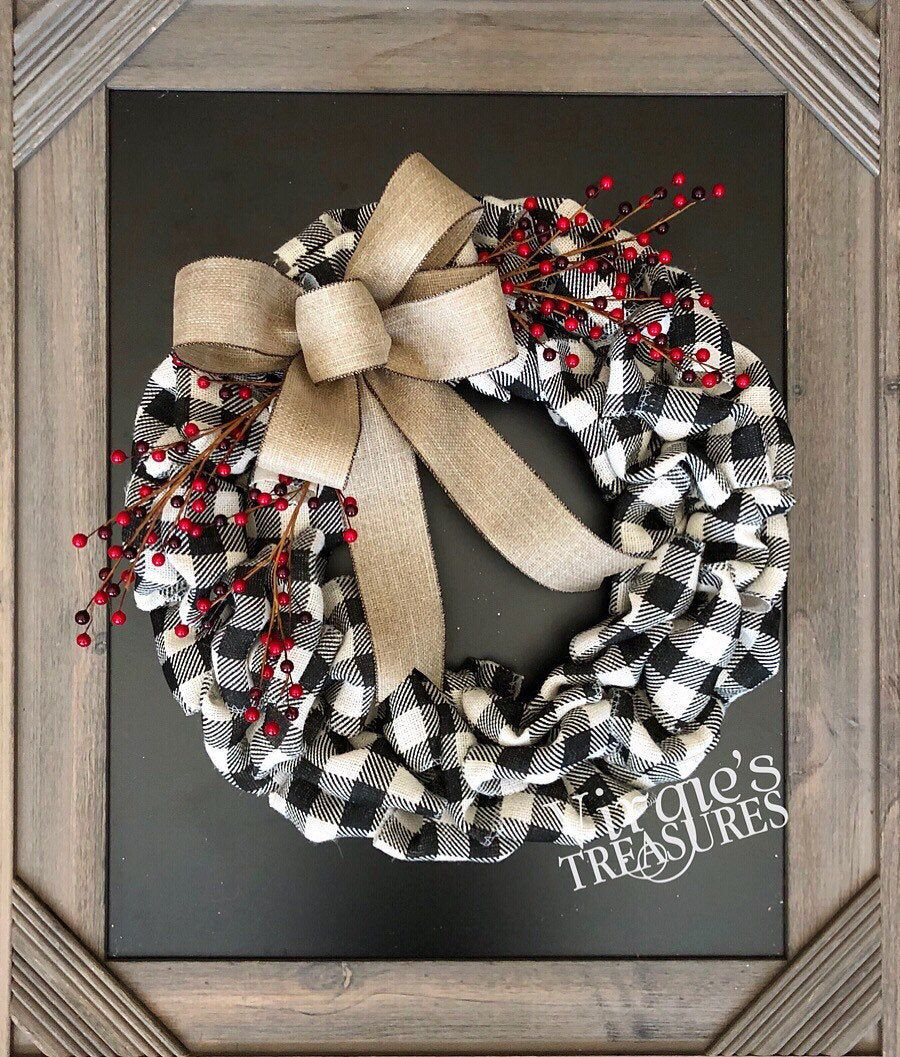 Photo of Items similar to Buffalo Plaid Christmas Burlap Wreath with Holiday Red Berries, Front Door Wreath, Holiday Wreath, Farmhouse Wreath, Christmas Wreath on Etsy