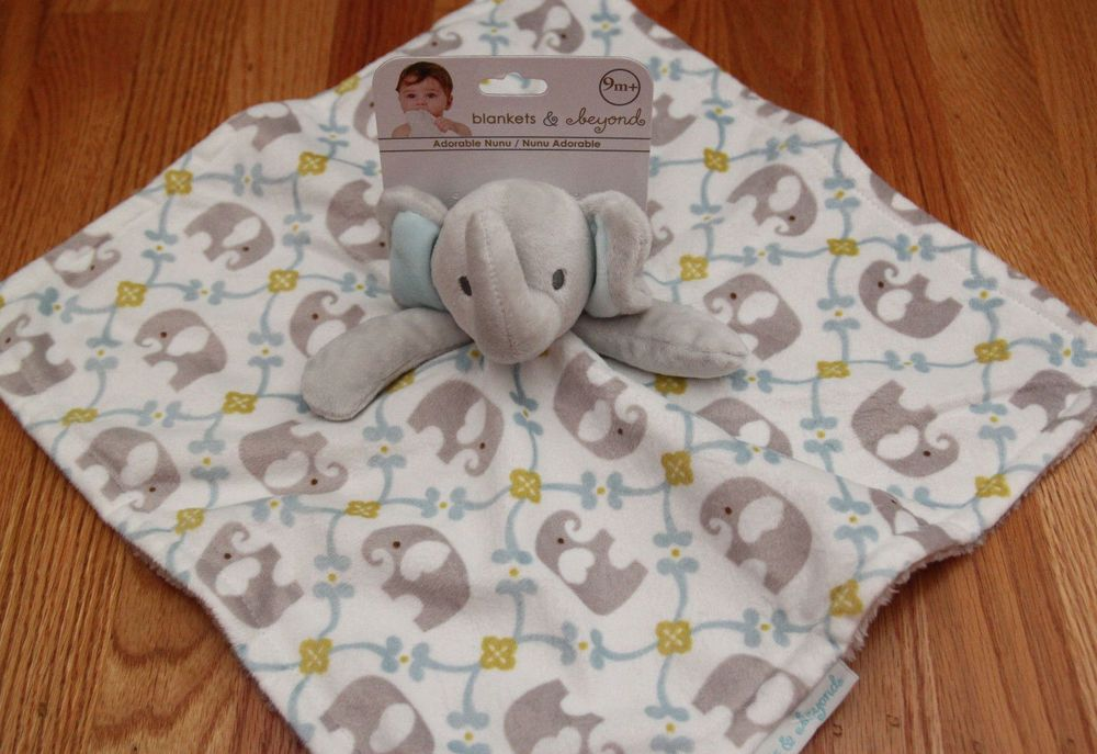 Pink /& Gray Blankets /& Beyond Baby Girl Security Blanket~Elephants /& Owls~White