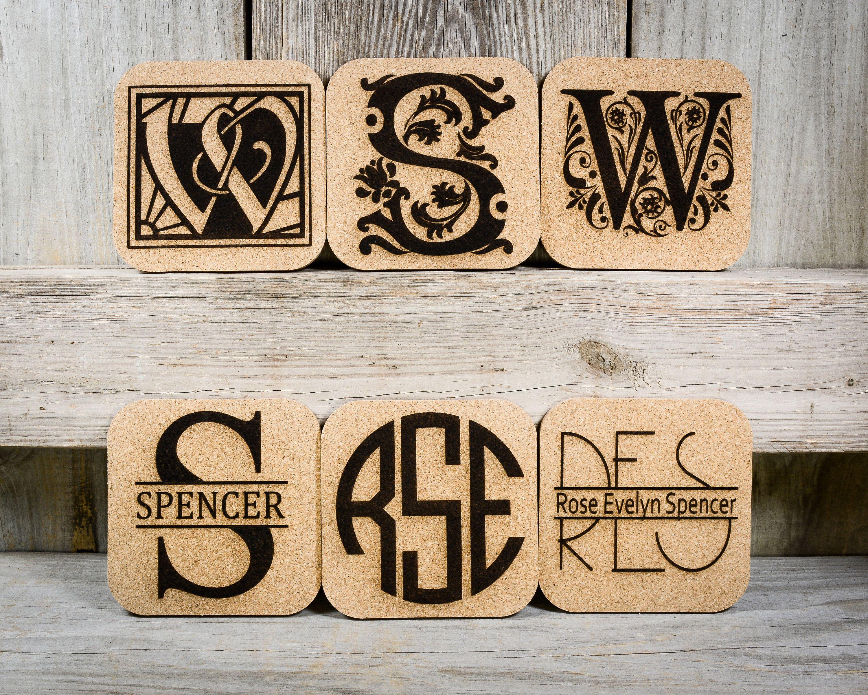 Cork Coasters Monograms Custom Set Of 4 Etsy Cork Coasters Personalized Monogram Monogram