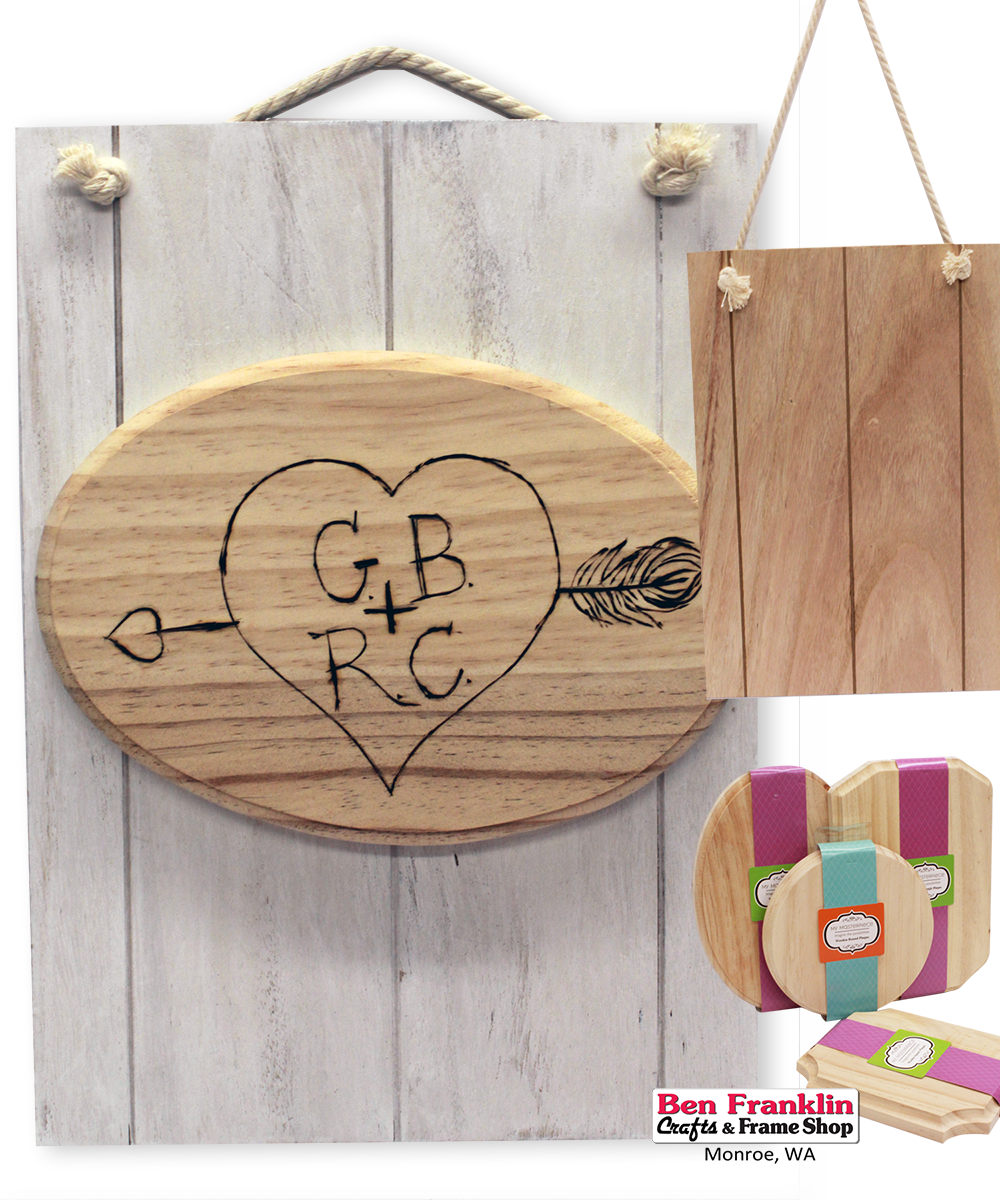 """DIY Wood Burning Love Pallet - Mix and match our wood plaques to create a love message for your loved one. The 10"""" x 14"""" rectangular plaque with rope is $6.77 (Reg. $9.99). Versa Tool Wood Burning Kit: $24.97 (Reg. $34.99) Kit includes heat tool, tool stand, storage case with dividers, 11 interchangeable points, lead-free solder and instructions. 