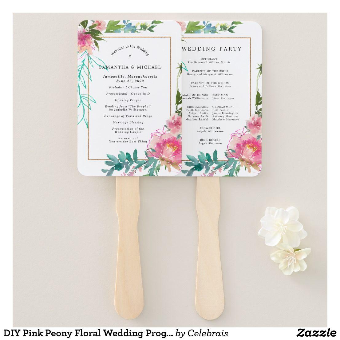 Diy pink peony floral wedding program hand fan hand fans