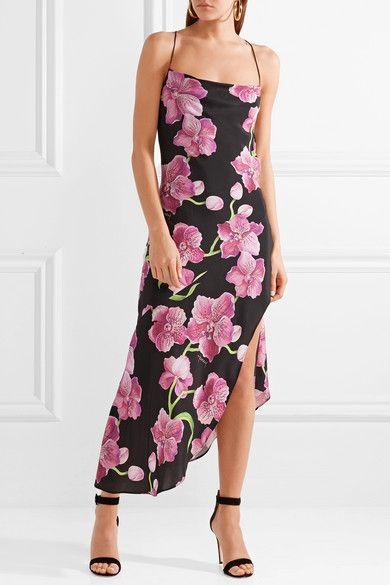 + Jeff Leatham Goldie Asymmetric Floral-print Silk Crepe De Chine Maxi Dress - Black Haney Cut-Price Discount Cheapest Price MiHs3R7tMH