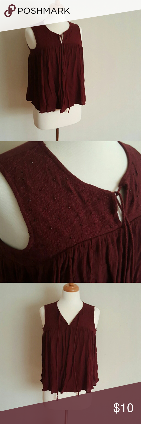 Primark Boho Chic Maroon Top Maroon. Worn twice. Beautiful addition to your closet. Beaded detailing. Primark Tops Blouses
