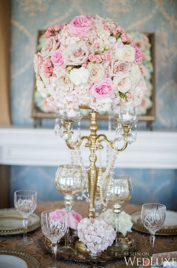 White lavender vintage glam candelabra centerpieces