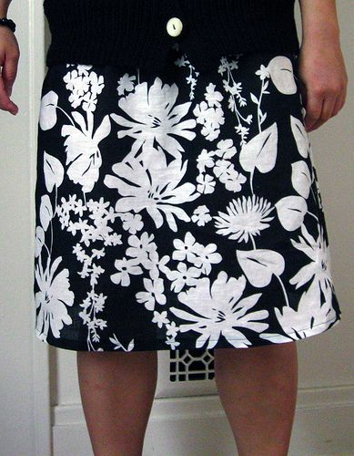 Black And White Flower Pattern Skirt Mine Is Black Flowers On