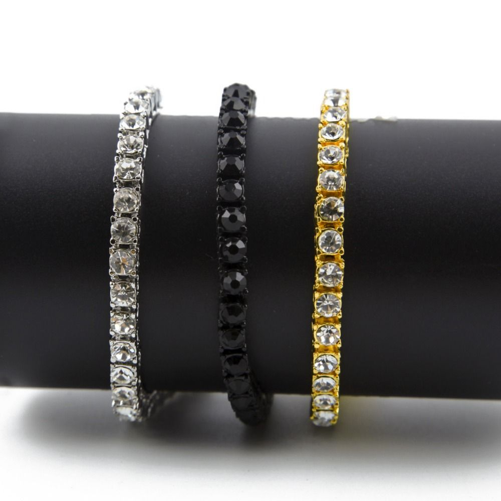 colors dope unisex row cz iced out bracelet bangle bling bling