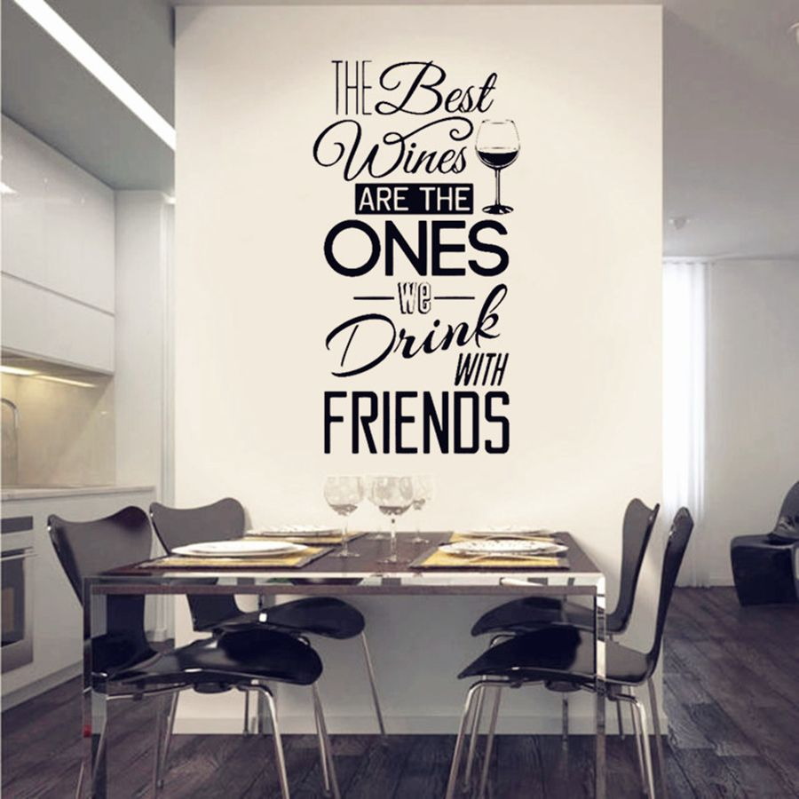 Cozinha Cita Decalque Da Parede Os Melhores Vinhos Com Os Amigos  -> Adesivo Sala De Jantar