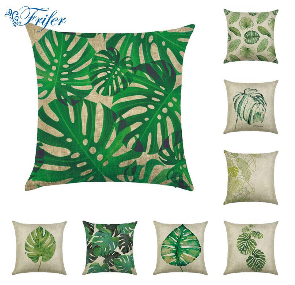 Housse De Coussin Taie D/'oreiller En Forme De Feuille De Plante Tropicale