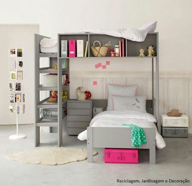 Gender Neutral Gray Bunk Bed W Storage Space For Junior Hoarders