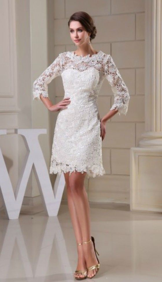 Lace Short Wedding Dresses With Sleeves For Reception A Line High Neck Style Op5041 158 4 Gemgrace Com Knee Length Wedding Dress Embellished Wedding Dress Short Wedding Dress