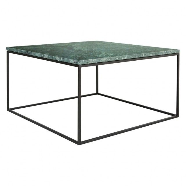 Nestor Green Marble Square Coffee Table On A Metal Base