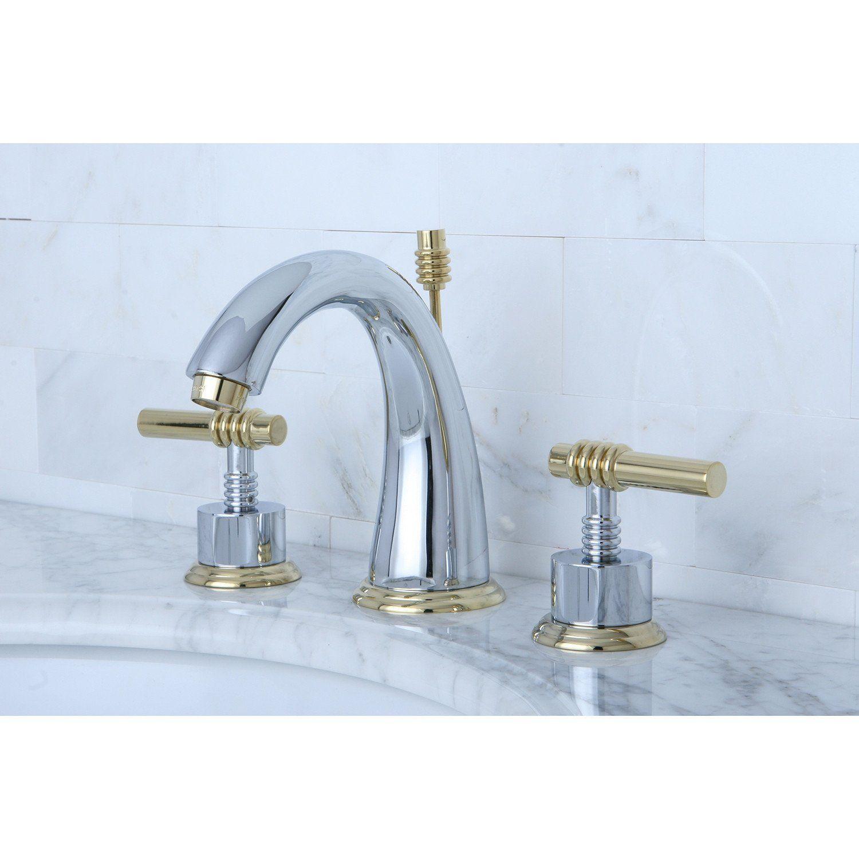 Kingston Chrome/Polished Brass 2 Handle Widespread Bathroom Faucet ...