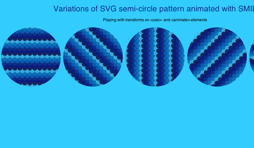 Animated variations of #SVG semi-circle pattern with #SMIL