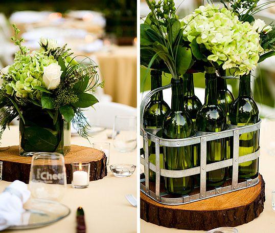 Empty Wine Bottle Bud Vases Loaded In Vintage Milk Carrier Wedding Centerpiece Vase