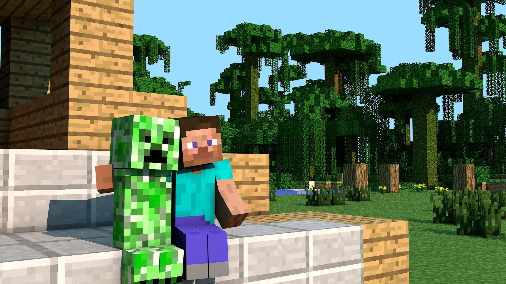 Creeper Steve Minecraft Background HD Wallpaper
