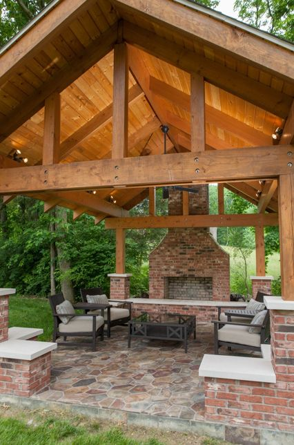 Pavilion With Fireplace And Gabled Ceiling Backyard Pavilion