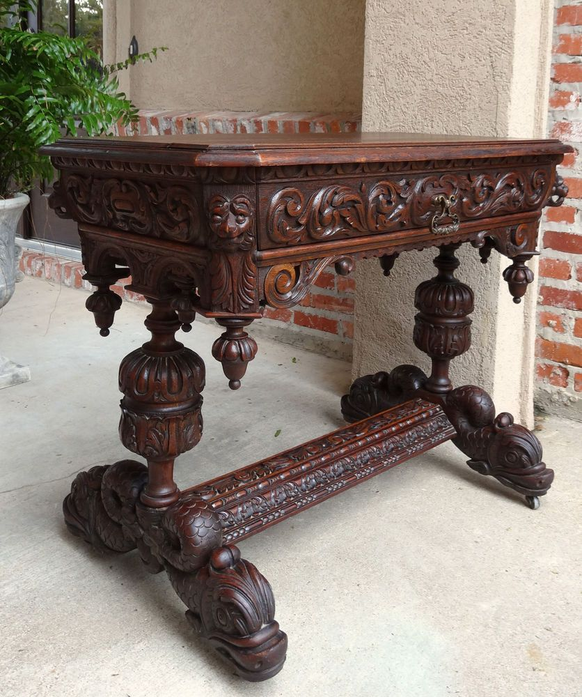 antique french carved oak dolphin library desk table renaissance victorian pinterest meuble. Black Bedroom Furniture Sets. Home Design Ideas