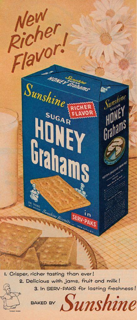 Vintage Sugar Honey Grahams Biscuits Ad