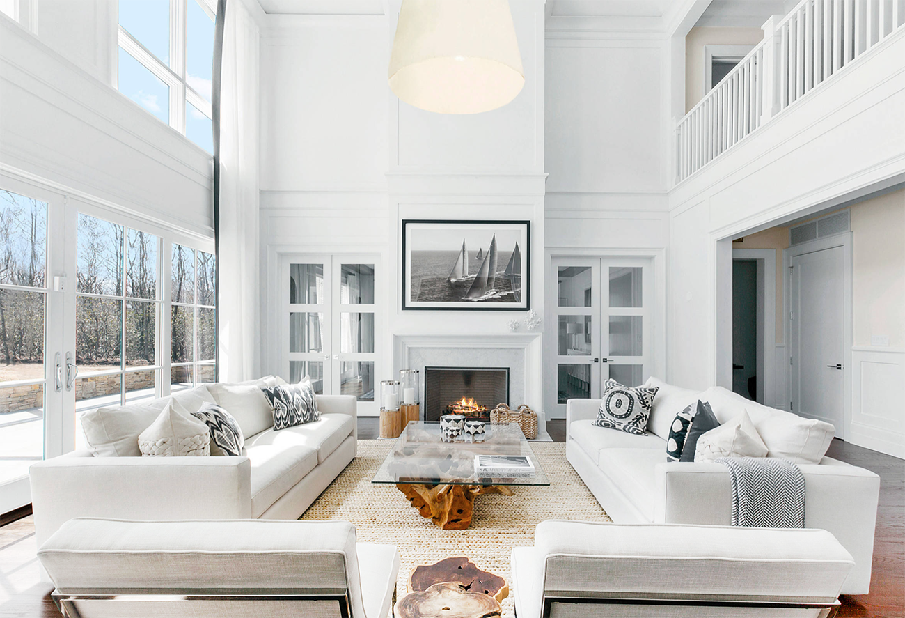 Majestic Bright White Modern Living Room Decor With Crystal