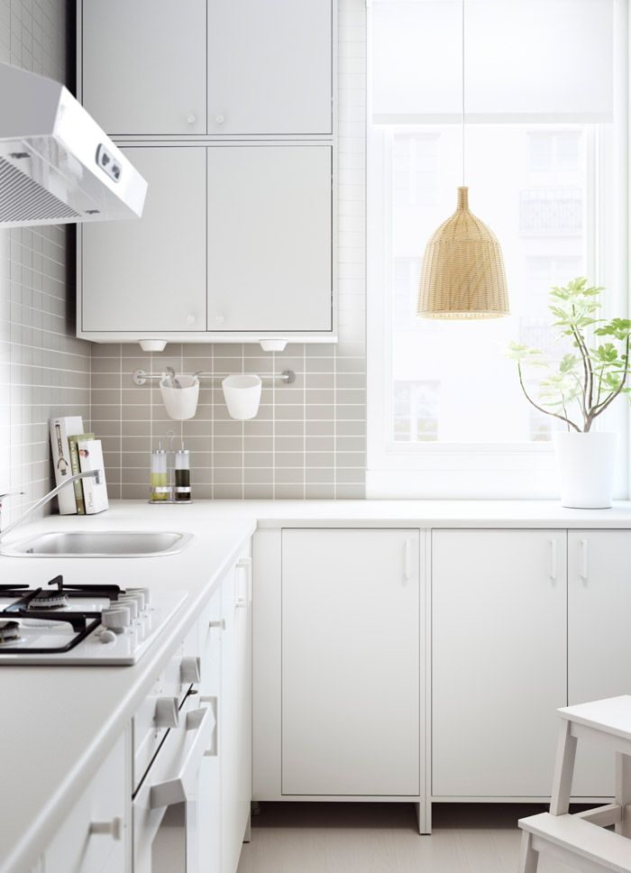 FYNDIG kitchen with white doors/drawers and worktop | Lakás ...