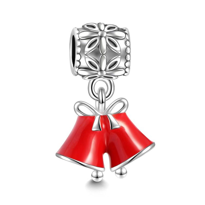 Red Christmas Bells Dangle Charm 925 Sterling Silver