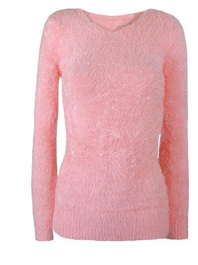 Sweter moherowy różowy