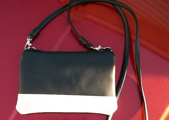 c4b626e48 Black and White Small Crossbody Bag, Small Purse, vegan leather bag ...