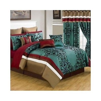 Queen Bed Set 24pc Blue Brown Red Comforter Bedding Curtains Bedroom Pillows Bag