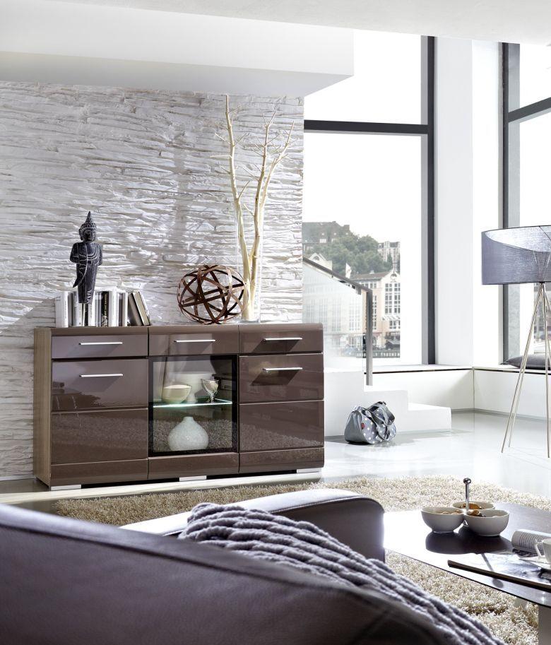 HOTEP Sideboard Sonoma Eiche Dunkel Schwarz Braun Wohnzimmer Modern