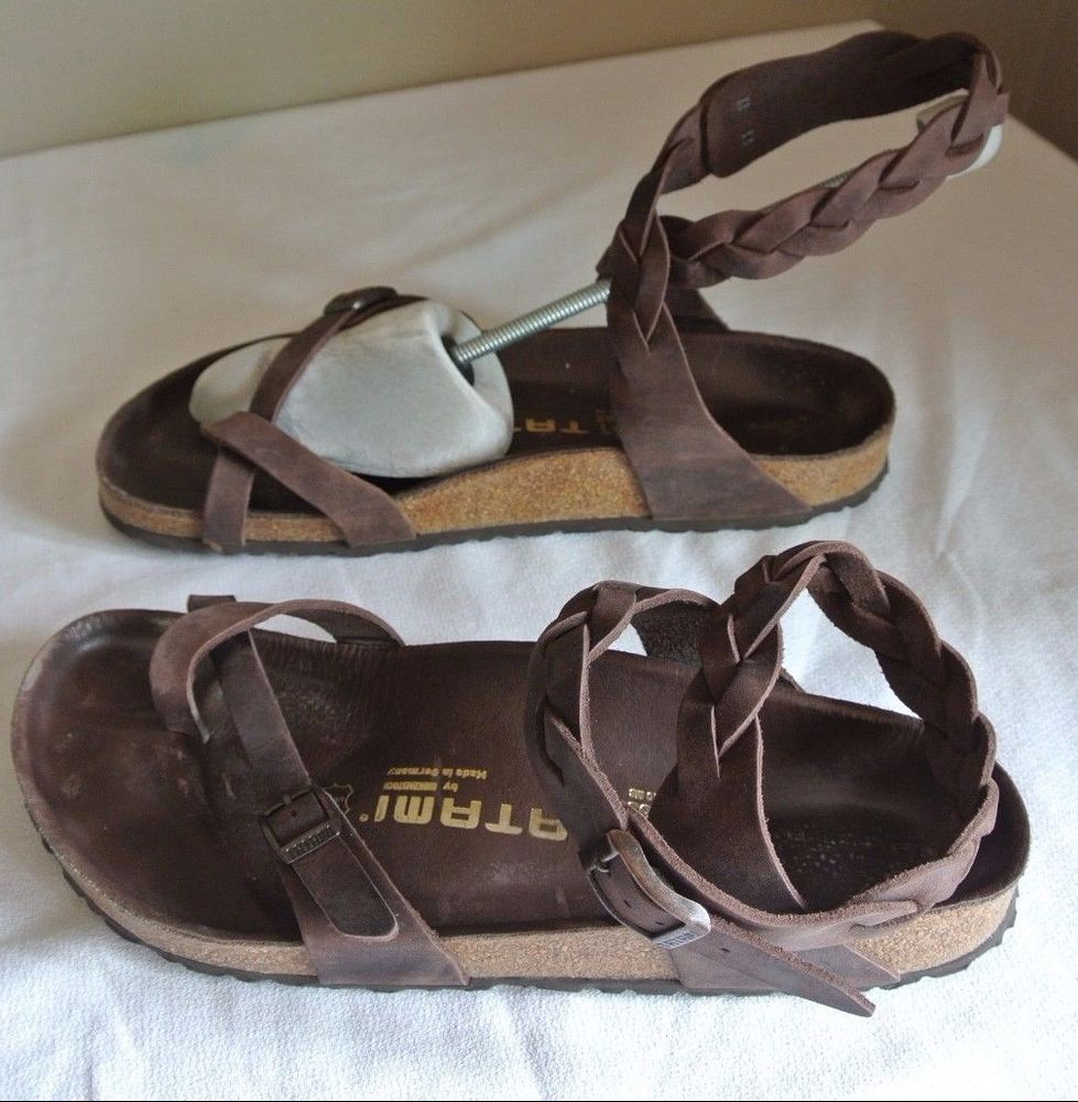 Tatami Birkenstock Yara Oiled Leather Braided Sandals Size