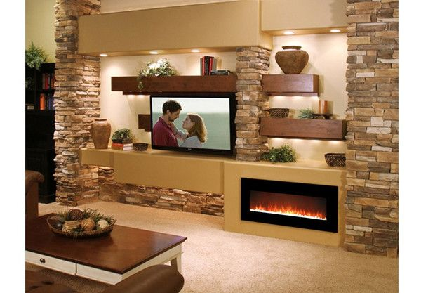 50 Inch Crystal Black Wall Mounted Electric Fireplace The Fire