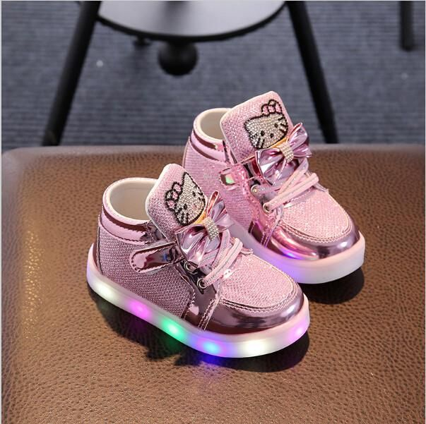 Children LED Sneakers Baby Kids Toddler Sports Running Shoes with Lights Pink