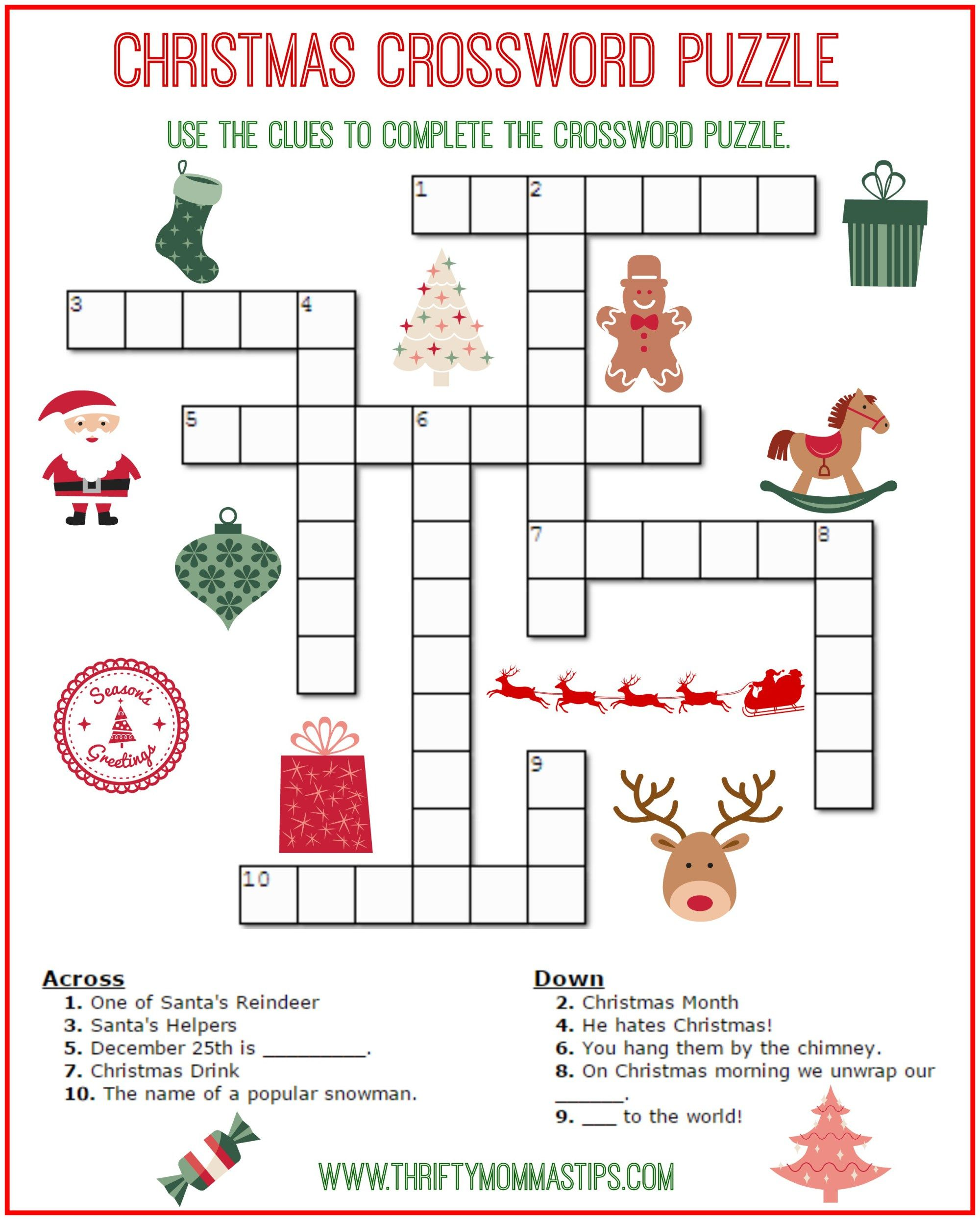 Christmas Crossword Puzzle Printable